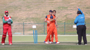 Michael Rippon can't believe his luck after deflecting a drive into stumps to run out Zeeshan Maqsood, Netherlands v Oman, Desert T20, Group B, Abu Dhabi, January 15, 2017