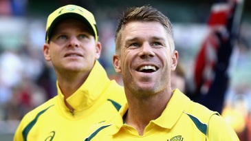 David Warner and Steven Smith look on before the start of the match