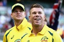 David Warner and Steven Smith look on before the start of the match, Australia v Pakistan, 2nd ODI, Melbourne, January 15, 2017