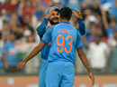 Virat Kohli celebrates with Jasprit Bumrah, India v England, 1st ODI, Pune, January 15, 2017