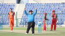 Alex Dowdalls signals six after Naseem Khushi cleared the midwicket rope to end the 19th over, Netherlands v Oman, Desert T20, Group B, Abu Dhabi, January 15, 2017