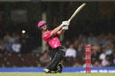Jordan Silk tries to muscle one over the leg side, Sydney Sixers v Melbourne Renegades, Big Bash 2016-17, Sydney, January 9, 2017