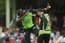 Carlos Brathwaite and Fawad Ahmed bring out the dab to celebrate a wicket, Sydney Sixers v Sydney Thunder, BBL, SCG, January 14, 2017