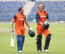 Roelof van der Merwe and Max O'Dowd are all smiles after clinching victory, Netherlands v Oman, Desert T20, Group B, Abu Dhabi, January 15, 2017