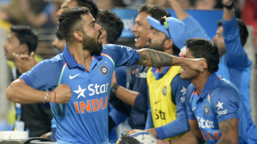 Virat Kohli is thrilled after the winning runs were hit