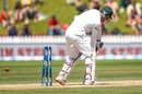 Subashis Roy is bowled by Trent Boult for zero, New Zealand v Bangladesh, 1st Test, Wellington, 5th day, January 16, 2017