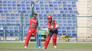 Sultan Ahmed belts out a successful appeal after Zeeshan Maqsood traps Waqas Khan, Hong Kong v Oman, Desert T20, Group B, Abu Dhabi, January 16, 2017