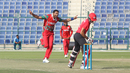 Kaleemullah is elated after claiming Ehsan Nawaz caught behind for his second wicket, Hong Kong v Oman, Desert T20, Group B, Abu Dhabi, January 16, 2017