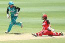 Maitlan Brown stretches fully to try and make her ground, Brisbane Heat v Melbourne Renegades, Women's Big Bash League, Allan Border Field, Brisbane, January 15, 2017