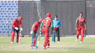 Khawar Ali's googly beats Nadeem Ahmed's forward prod for the ninth wicket