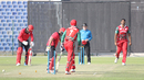 Khawar Ali's googly beats Nadeem Ahmed's forward prod for the ninth wicket, Hong Kong v Oman, Desert T20, Group B, Abu Dhabi, January 16, 2017
