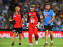 Peter Nevill is accompanied off the field after being struck in the face by Brad Hodge's bat, Adelaide Strikers v Melbourne Renegades, BBL 2016-17, Adelaide, January 16, 2017