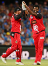 Thisara Perera celebrates one of his four wickets, Adelaide Strikers v Melbourne Renegades, BBL 2016-17, Adelaide, January 16, 2017