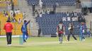 Rashid Khan points Muhammad Usman back to the pavilion after bowling him behind his legs, UAE v Afghanistan, Desert T20, Group A, Abu Dhabi, January 16, 2017