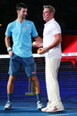 Tennis star Novak Djokovic has a chat with Shane Warne, Melbourne, January 11, 2017