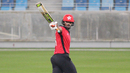 Nizakat Khan raises his bat after reaching 50 off 26 balls, Hong Kong v Netherlands, Desert T20, Group B, Dubai, January 18, 2017