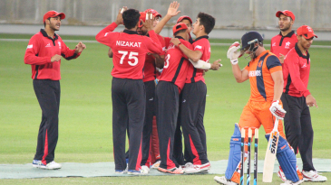 File photo - Aizaz Khan celebrates after dismissing Roelof van der Merwe