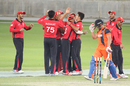 Aizaz Khan celebrates after dismissing Roelof van der Merwe, Hong Kong v Netherlands, Desert T20, Group B, Dubai, January 18, 2017