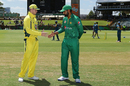 Steven Smith and Mohammad Hafeez shake hands at the toss, Australia v Pakistan, 3rd ODI, Perth, January 19, 2017
