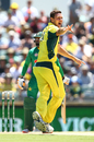 Josh Hazlewood appeals for the wicket of Mohammad Hafeez, Australia v Pakistan, 3rd ODI, Perth, January 19, 2017