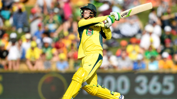 Peter Handscomb frees his arms and pulls a free hit high into the leg side
