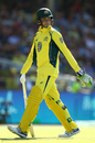 Peter Handscomb doesn't know it's a no-ball as he walks back after edging one to slip, Australia v Pakistan, 3rd ODI, Perth, January 19, 2017