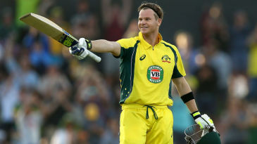 Steven Smith soaks in the applause of the crowd after getting to his century