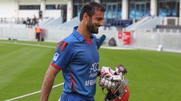Nawroz Mangal grins after walking off for 32