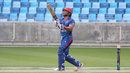 Gulbadin Naib hits the last ball of the innings for six down the ground, Afghanistan v Namibia, Desert T20, Group A, Dubai, January 19, 2017