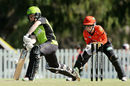 Alex Blackwell steps out to defend, Sydney Thunder v Perth Scorchers, Perth, Women's Big Bash League, January 20, 2017