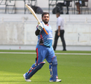 Mohammad Shahzad acknowledges the crowd after being dismissed for 80, Afghanistan v Oman, Desert T20, 1st semi-final, Dubai, January 20, 2017