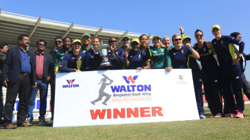 The South African women's team celebrates after their series victory