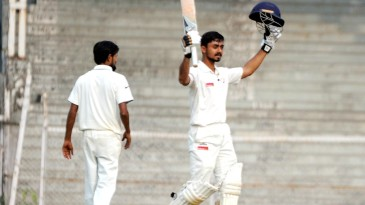 Chirag Gandhi celebrates his maiden first-class ton