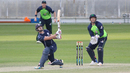 Matthew Cross slog sweeps George Dockrell for six during his 35 off 16 balls, Ireland v Scotland, Desert T20, 2nd semi-final, Dubai, January 20, 2017