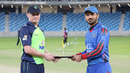 William Porterfield and Nawroz Mangal hold the tournament trophy ahead of the inaugural final, Afghanistan v Ireland, Desert T20, Final, Dubai, January 20, 2017