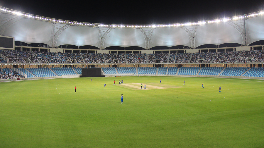 Play gets underway at the Dubai International Cricket Stadium