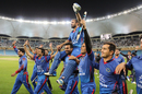 Team-mates carry Nawroz Mangal on a victory lap, Afghanistan v Ireland, Desert T20, Final, Dubai, January 20, 2017