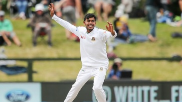 Mehedi Hasan Miraz celebrates after removing Ross Taylor