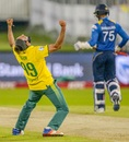 Imran Tahir is elated with the wicket of Dhananjaya de Silva, South Africa v Sri Lanka, 1st T20I, Centurion, January 20, 2017