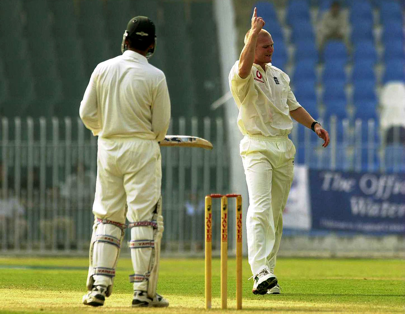 Matthew Hoggard dismisses Wasim for 12 in a tour game in Rawalpindi in November 2000. In the 2000-01 Quaid-e-Azam domestic season, Wasim was 12th on the run-getters list, having made 300 fewer than leading scorer Misbah-ul-Haq