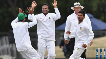 Shakib Al Hasan struck thrice in the final stretch of play on day two