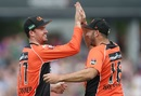 Tag-team work: Ashton Turner and Tim Bresnan pulled off an incredible relay catch near the straight boundary, Hobart Hurricanes v Perth Scorchers, Women's Big Bash League 2016-17, Hobart, January 21, 2017
