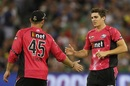 Sean Abbott is congratulated on the wicket of Ben Hilfenhaus, Melbourne Stars v Sydney Sixers, BBL 2016-17, Melbourne, January 21, 2017