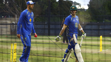 Steven Smith and Nathan Lyon hit the nets