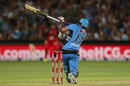 Brad Hodge loses his bat as he plays a shot, Adelaide Strikers v Melbourne Renegades, BBL 2016-17, Adelaide, January 16, 2017
