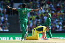 David Warner falls to the ground after nicking Hasan Ali behind, Australia v Pakistan, 4th ODI, Sydney, January 22, 2017
