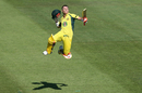 David Warner leaps to celebrate his century, Australia v Pakistan, 4th ODI, Sydney, January 22, 2017