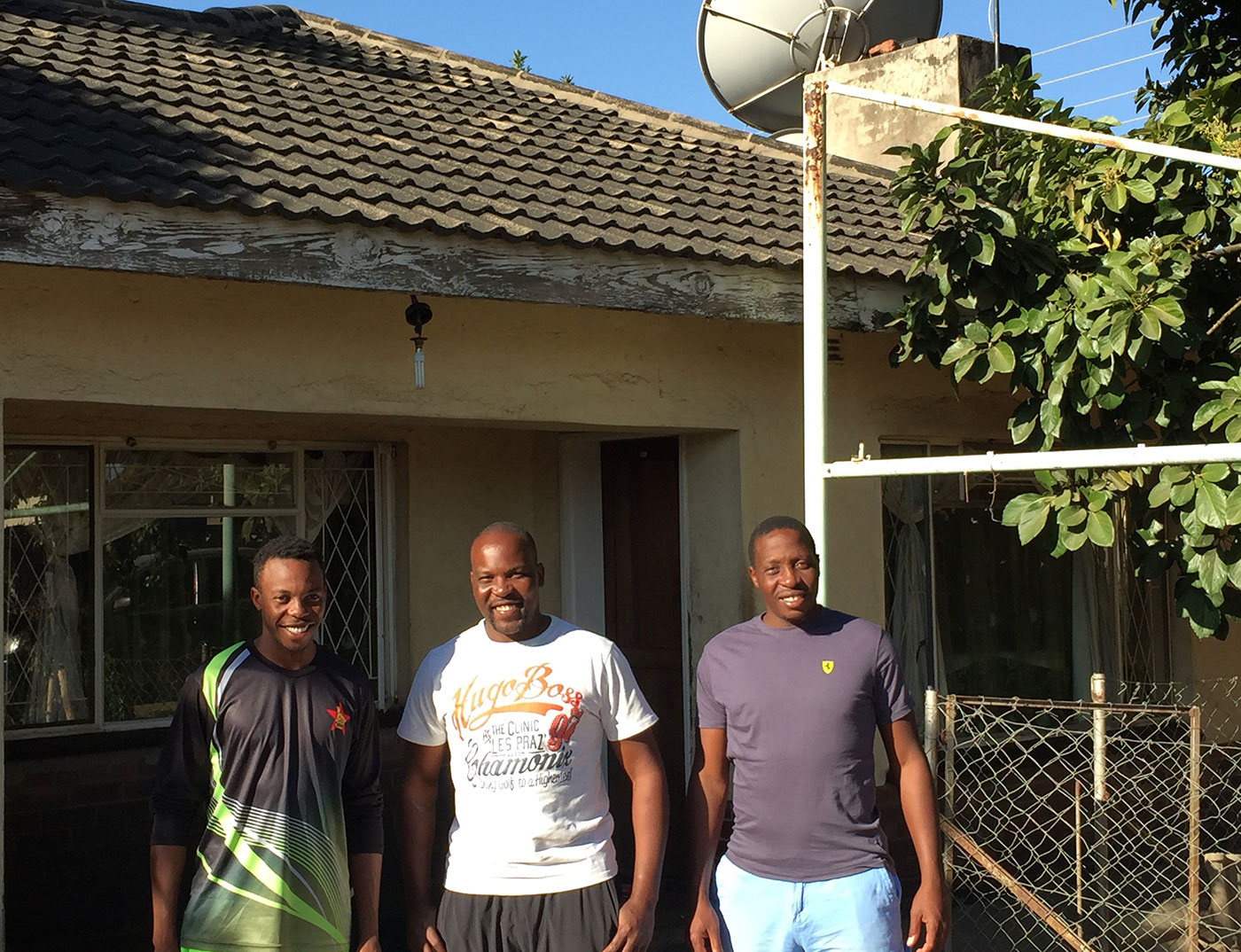 Cricket familia: (from left) Wellington, Hamilton and Shingi Masakadza outside their home in Harare