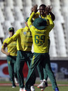 Lungi Ngidi celebrates a wicket, South Africa v Sri Lanka, 2nd T20I, Johannesburg, January 22, 2017