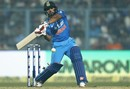 Kedar Jadhav shapes to heave en route to his 90, India v England, 3rd ODI, Kolkata, January 22, 2017